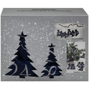 24 Piece Blue Advent Calendar Satin Bags Set