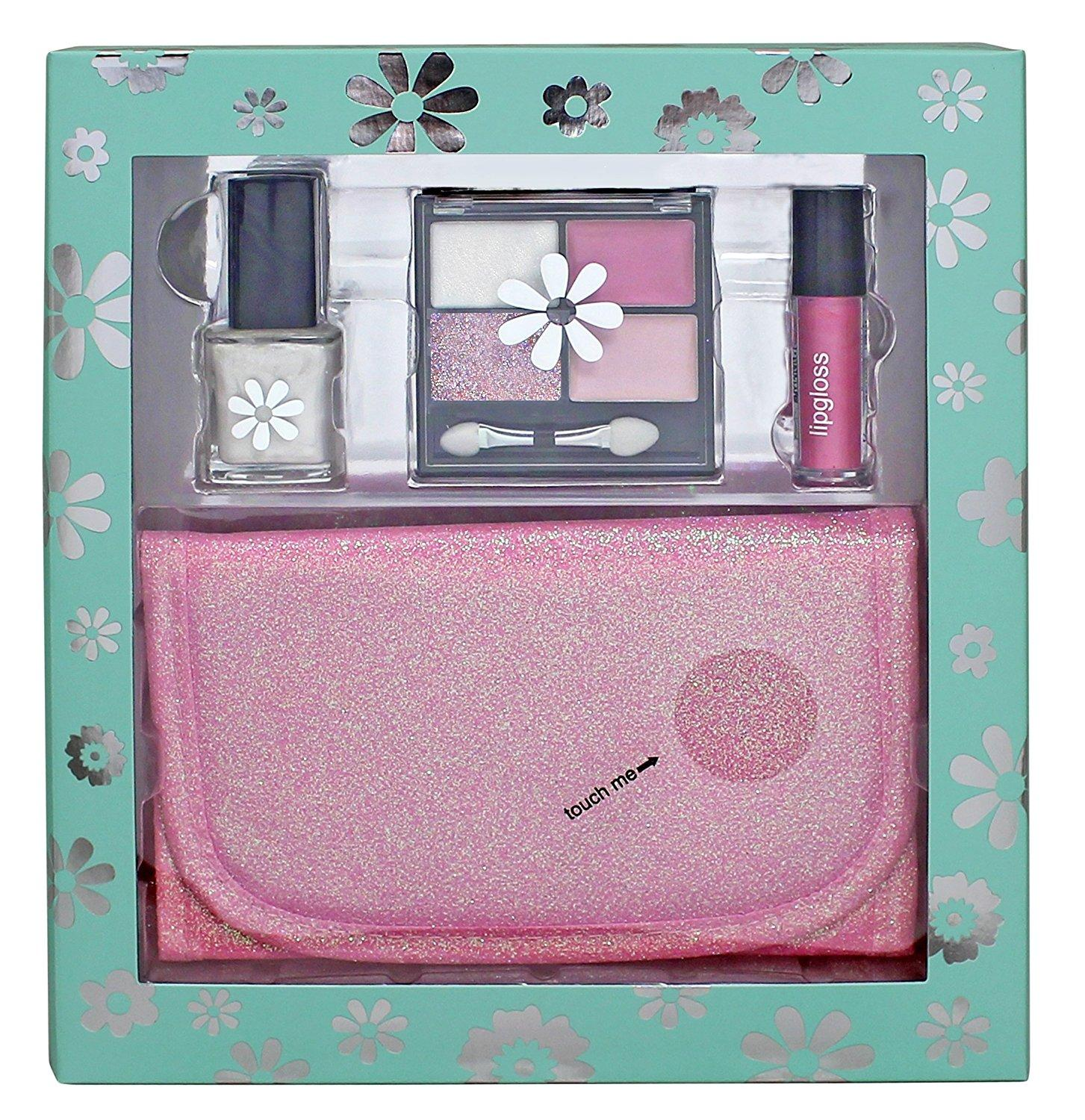 8 Piece Pink Glitter Cosmetic Bag
